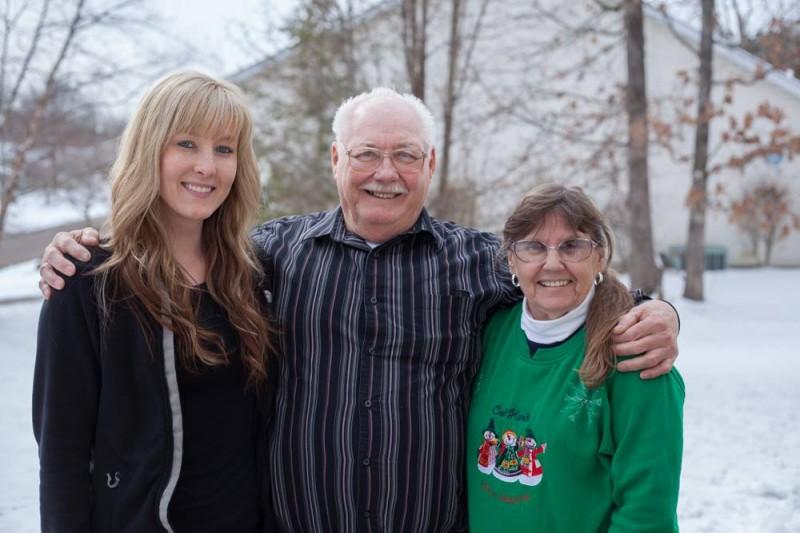 Tara with her grandparents.