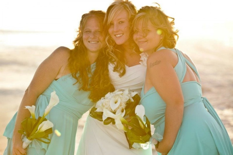 Tara and her sisters on our wedding day.