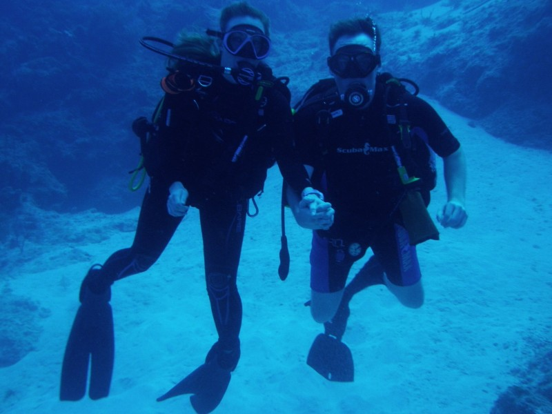 Us diving in the Grand Cayman Islands.