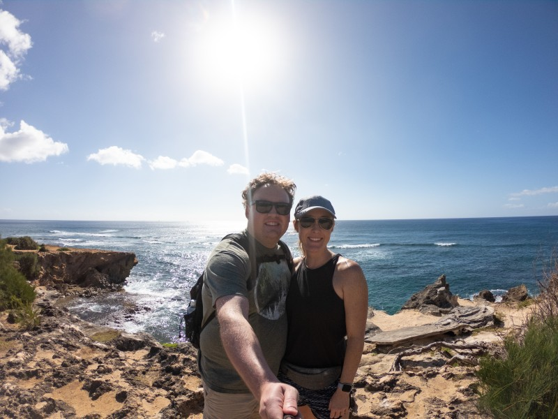 Quick selfie during our coastal hike in Kauai.