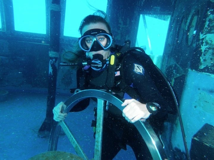 Tara diving a ship wreck in Grand Cayman.