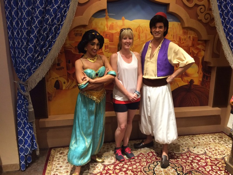Meeting Aladdin and Jasmine at Disney World.