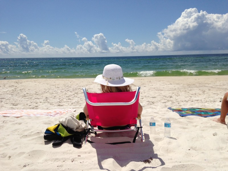 Tara relaxing on the beach in Gulf Shores, Alabama.