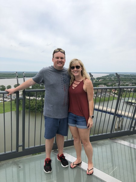 Standing at the top of the Memphis Pyramid - Bass Pro Shops in Tennessee.