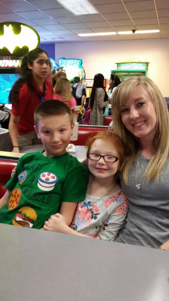 Enjoying our first Chuckie Cheese experience together with the niece and nephew in Kansas City.