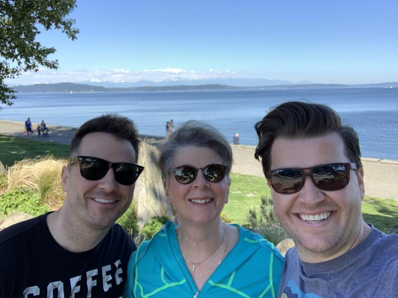Morning beach walk with Brandon's Mom