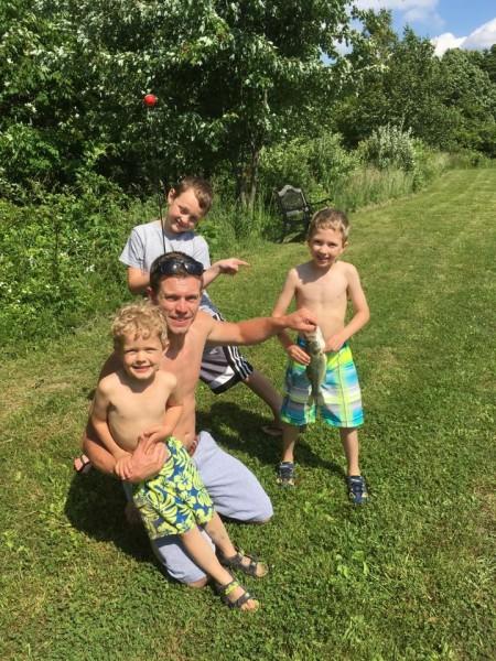 Dan fishing at grandma's house with our nephews