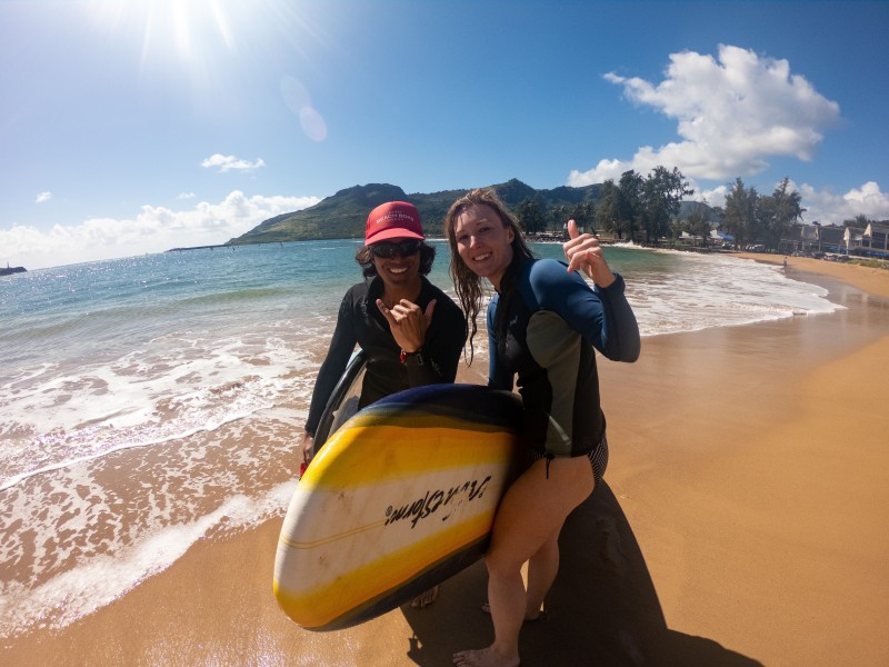 Tara and her surf instructor, Marlow, in Kauai.