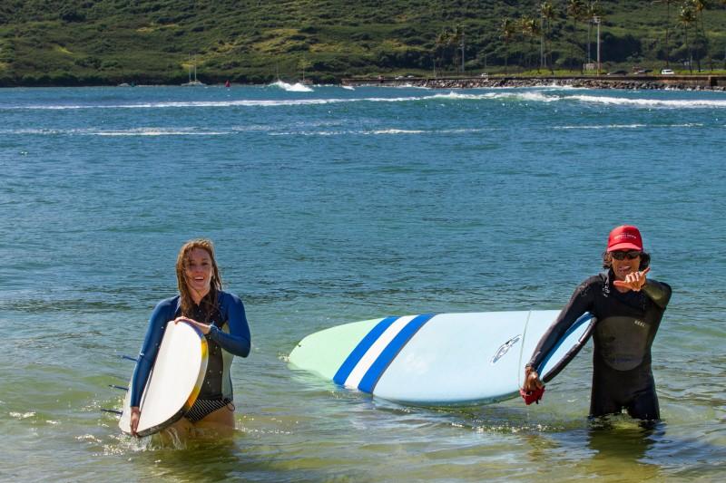 Tara finishing her day of surfing.
