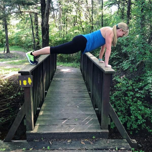 Tara planking on a bridge, for fun!