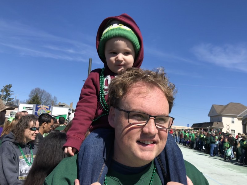 Hanging out with Surber during our famous St. Pat's parade.