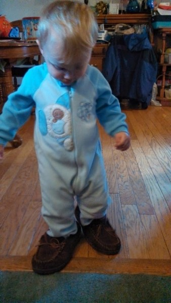 Wearing daddys shoes