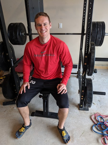 Adam and his home gym. He enjoys having his gym at home so he can spend more time with the family.