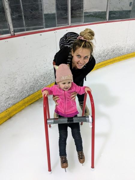 Sara and Elizabeth on the ice.