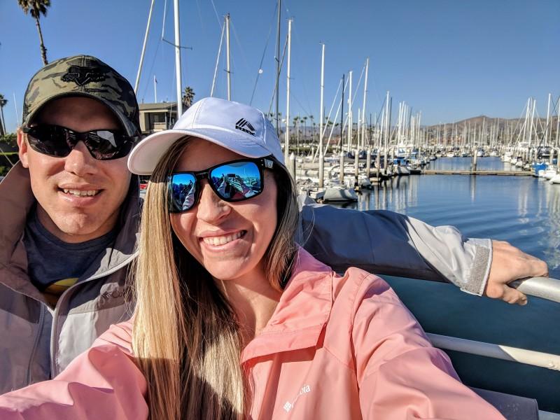 Adam and Sara whale watching in Santa Barbara.
