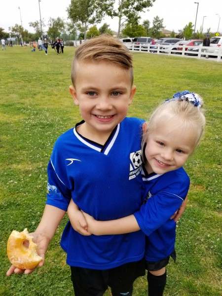 Cousin Smith and Emberlyn were so happy to end up on the same soccer team.