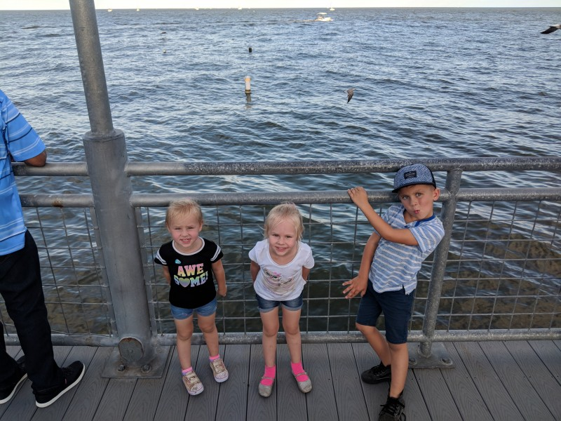 This is a picture of cousin Everly, Emberlyn and cousin Smith on a visit to the Gulf.