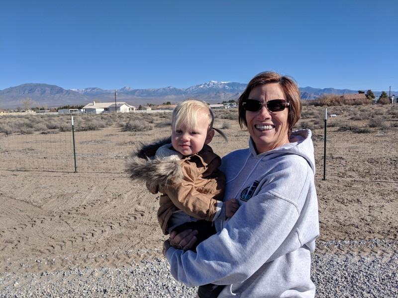 Grandma Sharol with Elizabeth in Nevada.