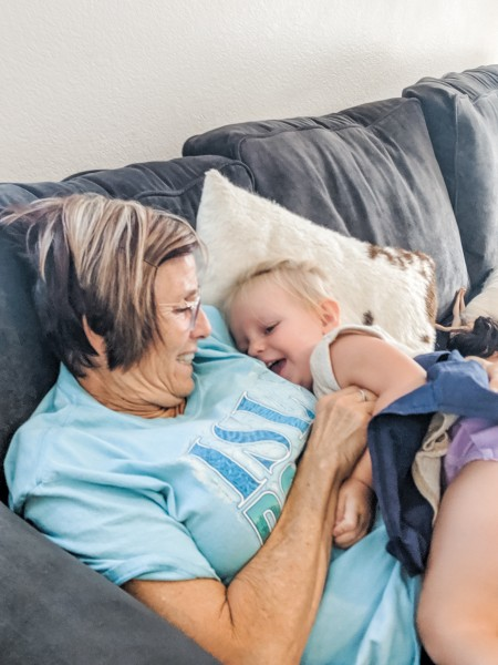 Tickles and giggles with Grandma Sharol.
