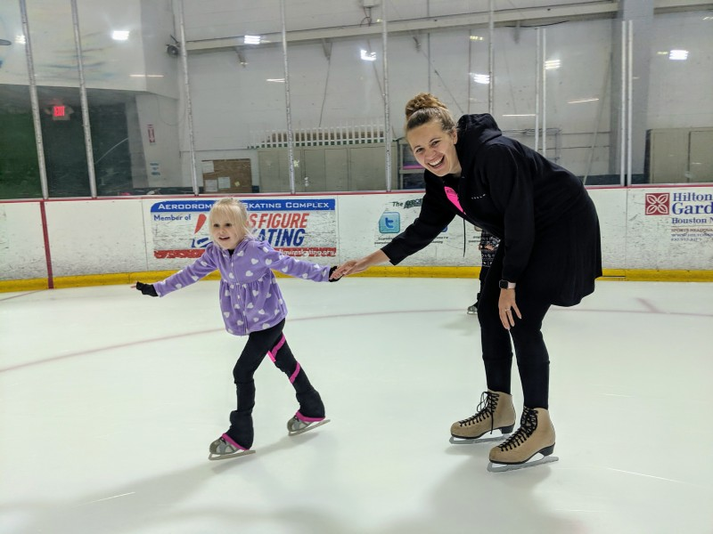 A picture of Aunt Kayla and Emberlyn on the ice.