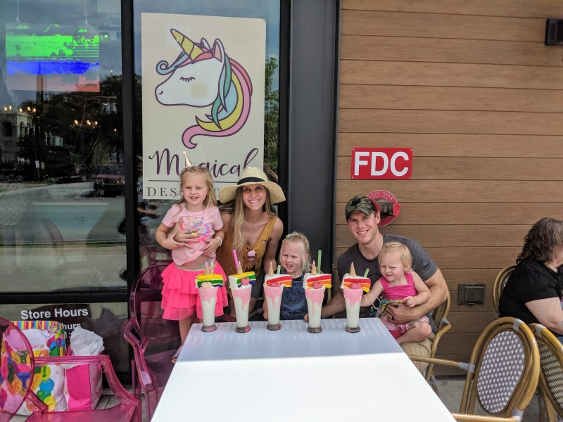 """We went to the """"Magical Dessert Bar"""" for Everly's 4th birthday. She loved the unicorn themed dessert."""