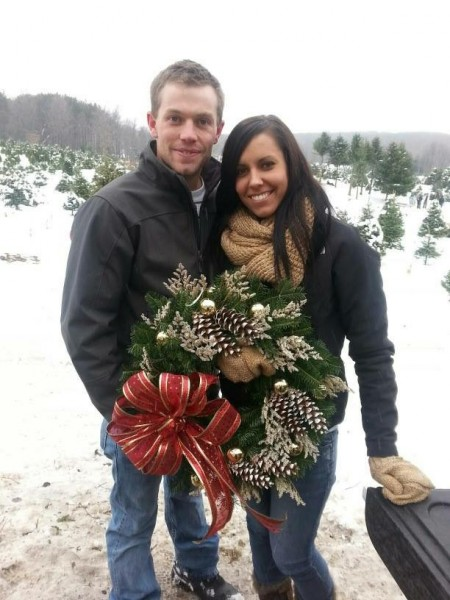 Annual traditions of cutting down our Christmas tree and picking out a wreath!