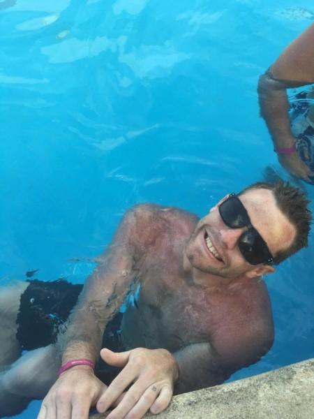 Dan loves swimming in Bri's parents pool