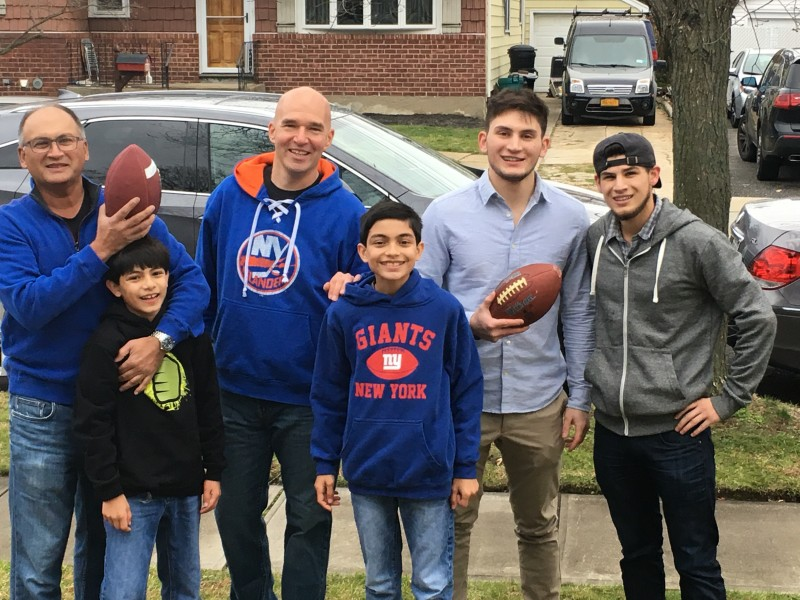 The cousins getting ready to play some Thanksgiving football!
