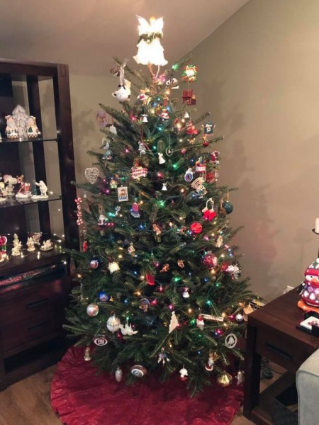 Christmas is always at our home!  We love decorating our tree and being with family!