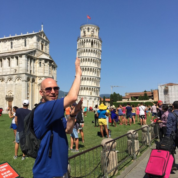 Joe pushing down the Leaning Tower of Pisa!