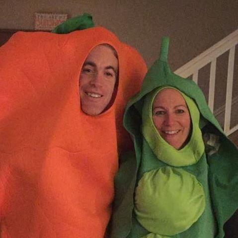 Barbi Jo and Egan as veggies for Halloween!