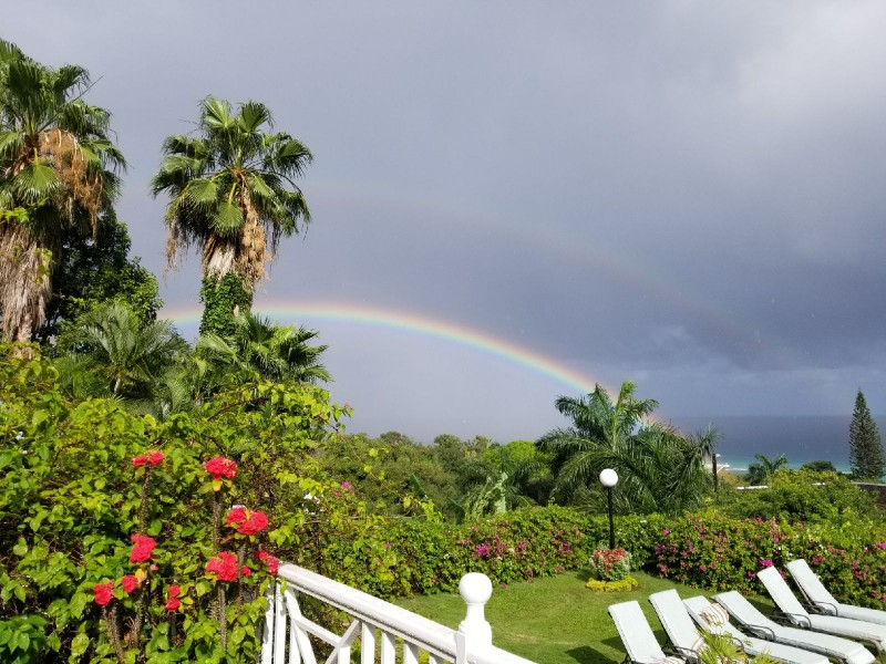 We had a double rainbow appear on our birthdays in MoBay, Jamaica. . .Serendipity