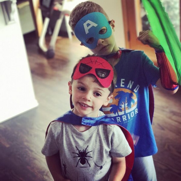 We love to dress up and use our imaginations. Here are my two little super heros.