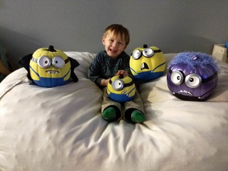 Mommy made minion pumpkins! (She likes them better than Alex)