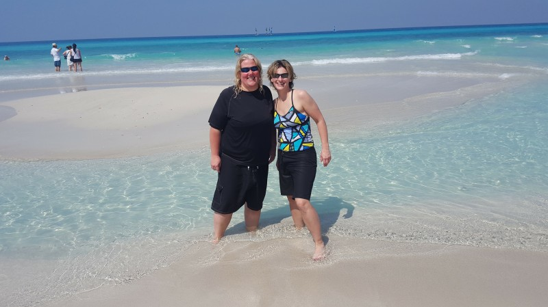 Corinne and Adrienne on the Beach in Cuba