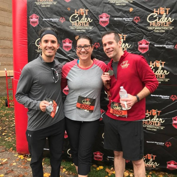 Paul's brother and sister, Adam and Denise, running the Hot Cider Hustle with Paul (October 2017)