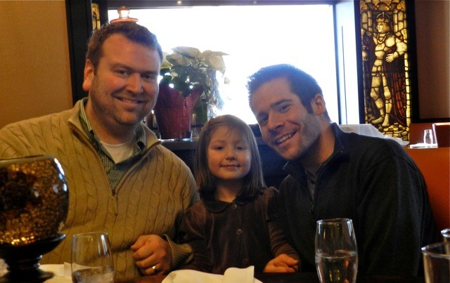 """Ryan and Paul making a """"sandwich"""" out of niece, Isabelle (November 2013)"""