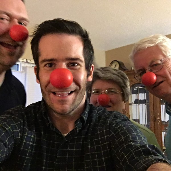 Celebrating Red Nose Day with Ryan's parents, Vicki and Geof (May 2016)