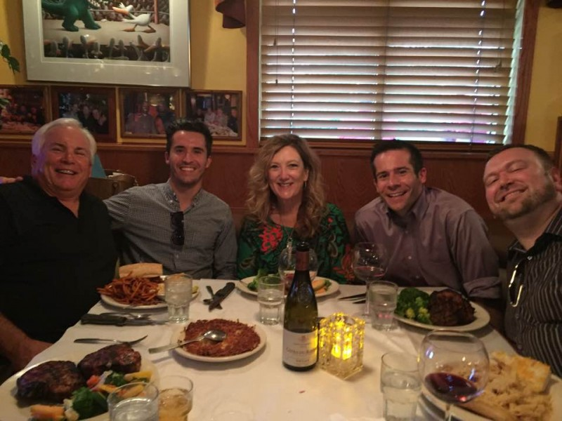 Celebrating Paul's dad, Joe's, birthday with brother, Adam, and stepmom, Julie (September 2016)