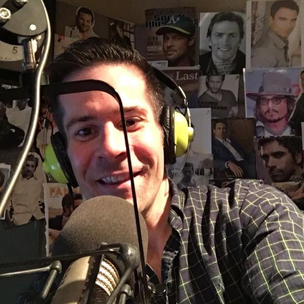 Paul on the mic at the radio studio