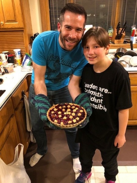 Paul making cherry pie with nephew Alex for Thanksgiving (November 2019