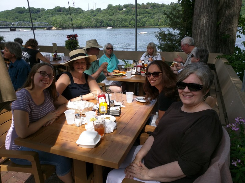 Annie, Char, and Paul's cousins Nicole and Liz out for a girls' lunch in Stillwater, MN!