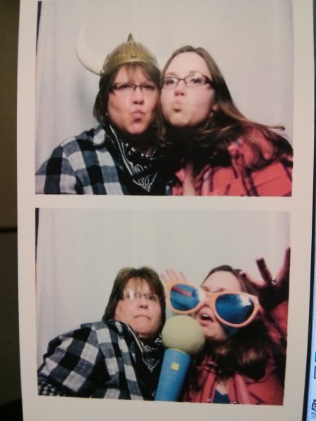 Annie & her mom having fun at the company holiday party - Annie & her mom worked at the same credit union where she met Paul!