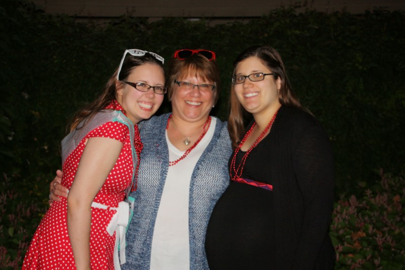 Annie, her mom, and her sister (with niece Harlow still in her sister's belly)!