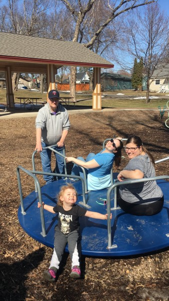 Annie's dad Tom and his 3 favorite girls at the playground in April 2018