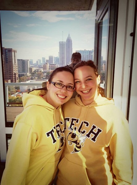 Annie and Mariel pose in their matching sweatshirts from Georgia Tech, where Mariel works as a professor!