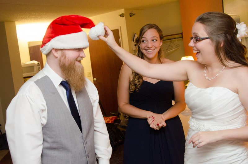 Somehow we found a Santa hat while signing the marriage license, and it was a perfect fit for Matt