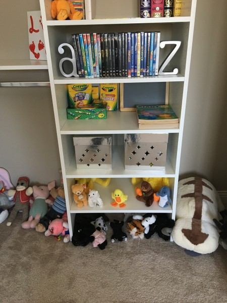 Another shot of the playroom closet with all its toys and stuffed animals