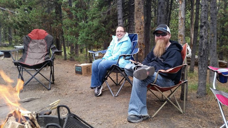 Having fun at the campsite in Yellowstone