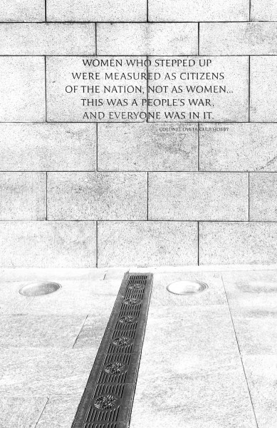 A quote on a wall at the national World War II memorial